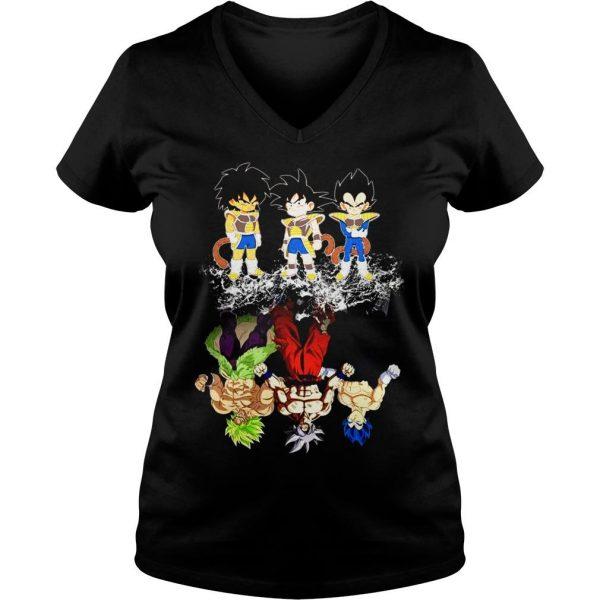 Saiyan Kids Broly Songoku Vegeta Mature Water Reflection Shirt Ladies V-Neck