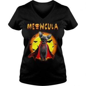 Sphynx Meowcula Sphynx Cats Halloween Shirt Ladies V-Neck