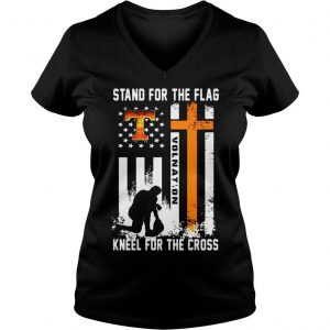 Tennessee Volunteers stand for the flag kneel for the cross shirt Ladies V-Neck