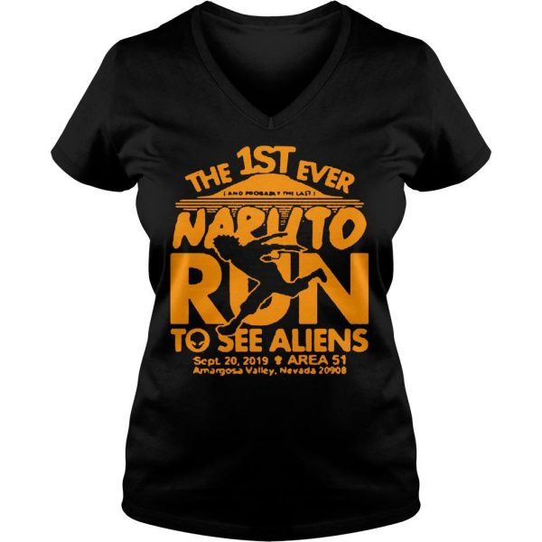 The 1ST ever Naruto run to see Aliens sept 20 2019 Area 51 shirt Ladies V-Neck