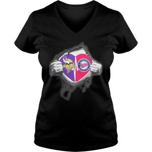 Vikings Twins Its in my heart inside me shirt Ladies V-Neck