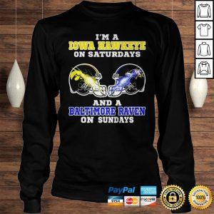 Im A Iowa Hawkeye On Saturdays And A Baltimore Raven On Sundays shirt Longsleeve Tee Unisex