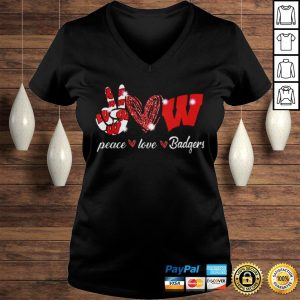 Peace love Wisconsin Badgers shirt Ladies V-Neck