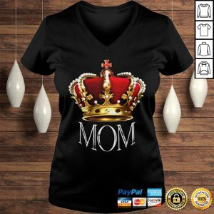 Queen Mom Tshirt Crowned Mom Tee Shirt Mothers Day Gift Shirt Ladies V-Neck