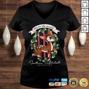 Southern Attitude Joy To The World Christmas Shirt Ladies V-Neck