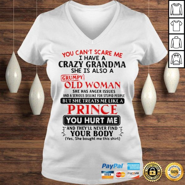 The Pretty You Cant Scare Me I Have A Crazy Grandpa He Is Also A Grumpy Old Man Shirt Ladies V-Neck