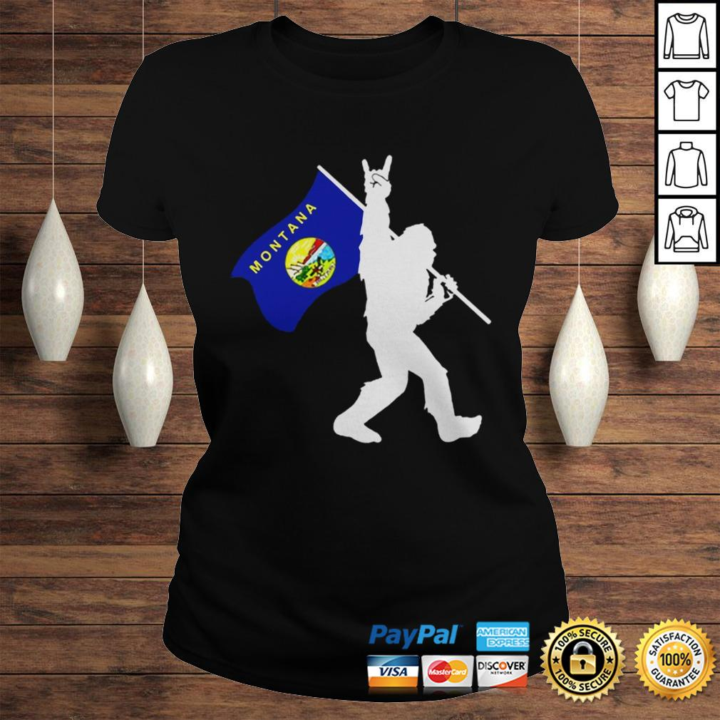 Bigfoot Middle Finger Montana State Flag shirt Classic Ladies Tee