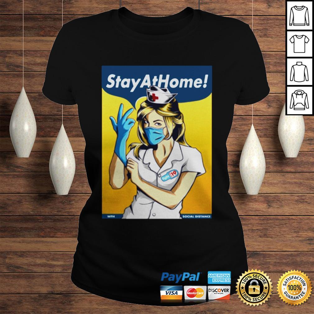 Stay Home Fight Coronavirus For TShirt Classic Ladies Tee