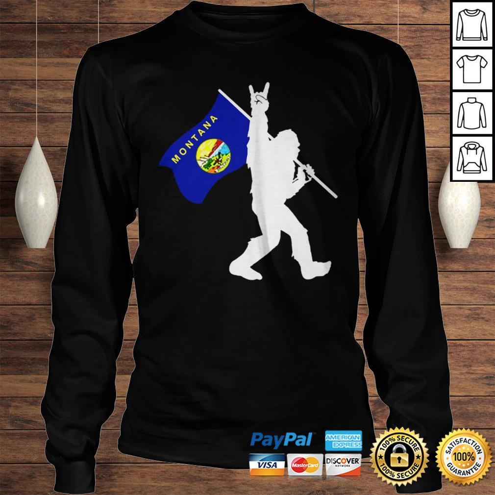 Bigfoot Middle Finger Montana State Flag shirt Longsleeve Tee Unisex