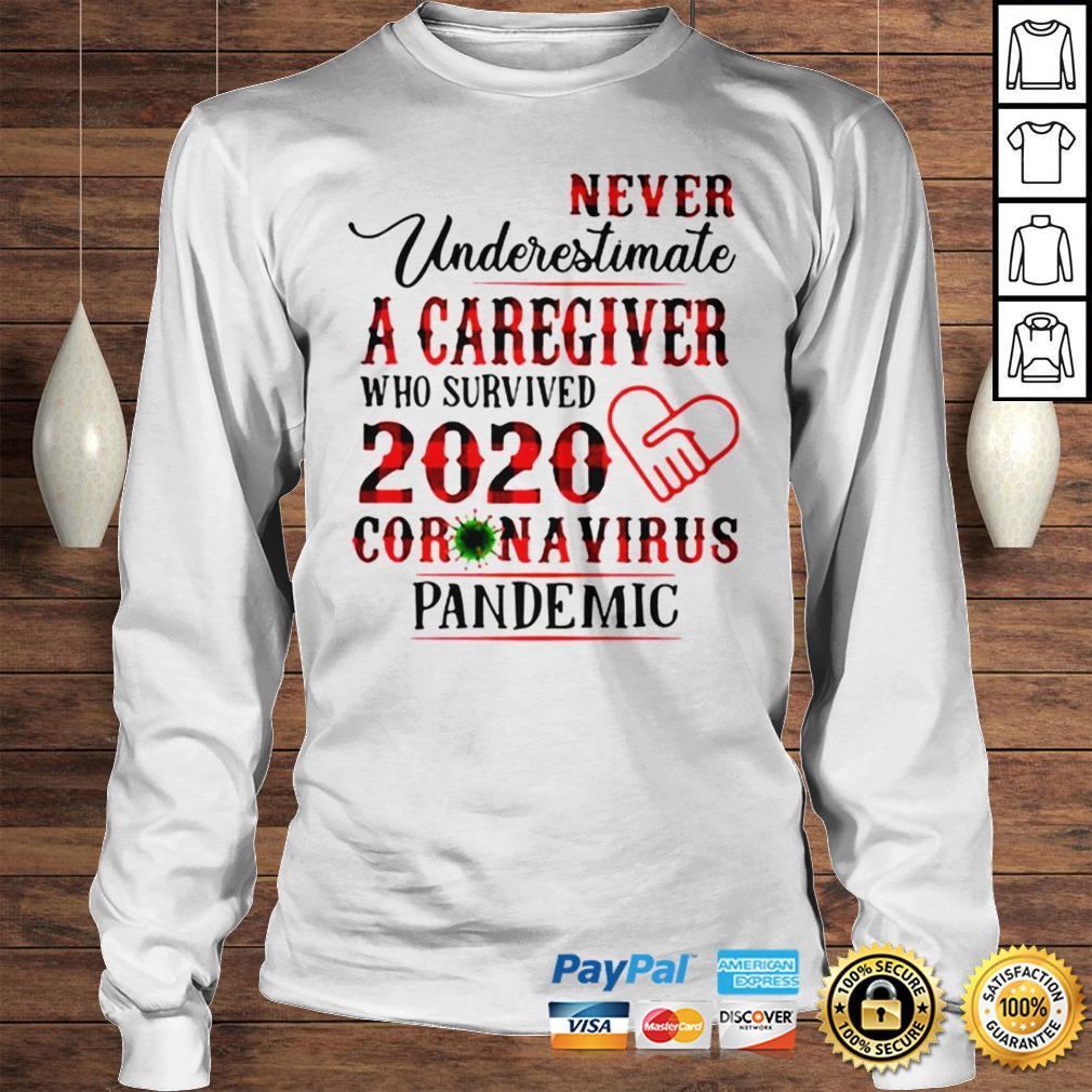 Never underestimate a caregiver who survived 2020 Coronavirus pandemic shirt Longsleeve Tee Unisex
