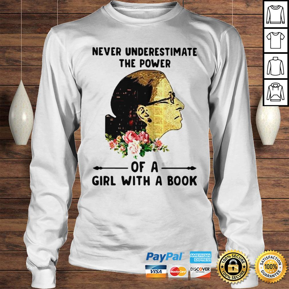 Ruth Bader Ginsburg Never Underestimate The Power Of A Girl With A Book Shirt Longsleeve Tee Unisex