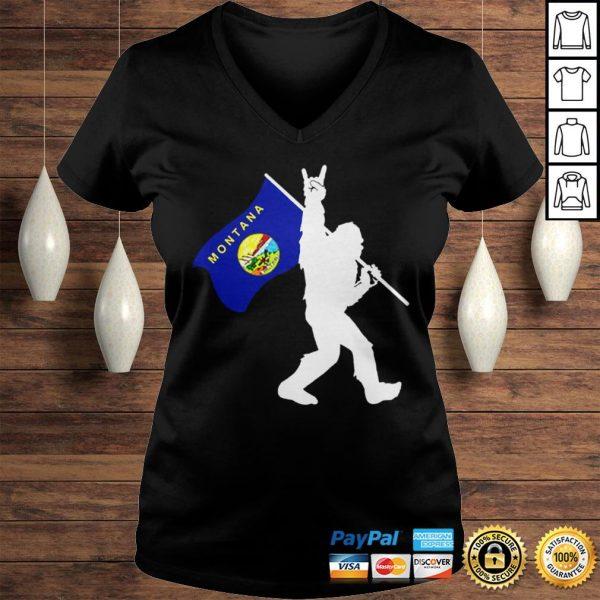 Bigfoot Middle Finger Montana State Flag shirt Ladies V-Neck