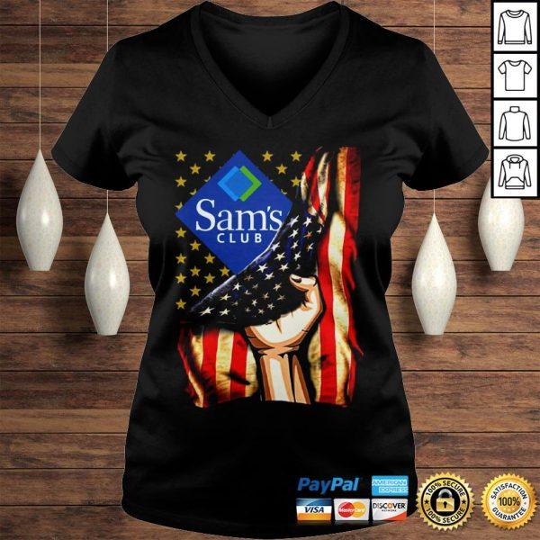 Hand American Flag Sams Club Shirt Ladies V-Neck