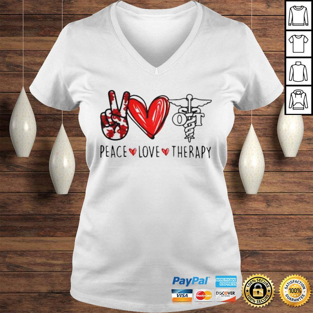Peace Love Therapy Shirt Ladies V-Neck