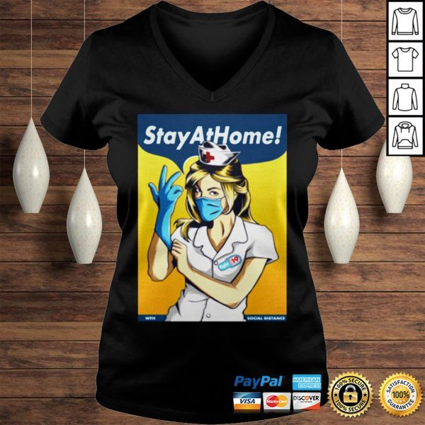 Stay Home Fight Coronavirus For TShirt Ladies V-Neck