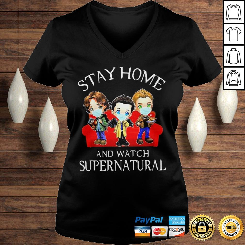 Stay home and watch Supernatural chibi shirt Ladies V-Neck