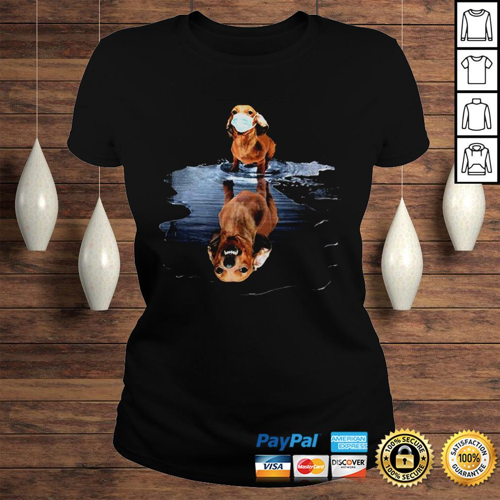 Dachshund Face Mask Water Reflection Dachshund Shirt Classic Ladies Tee