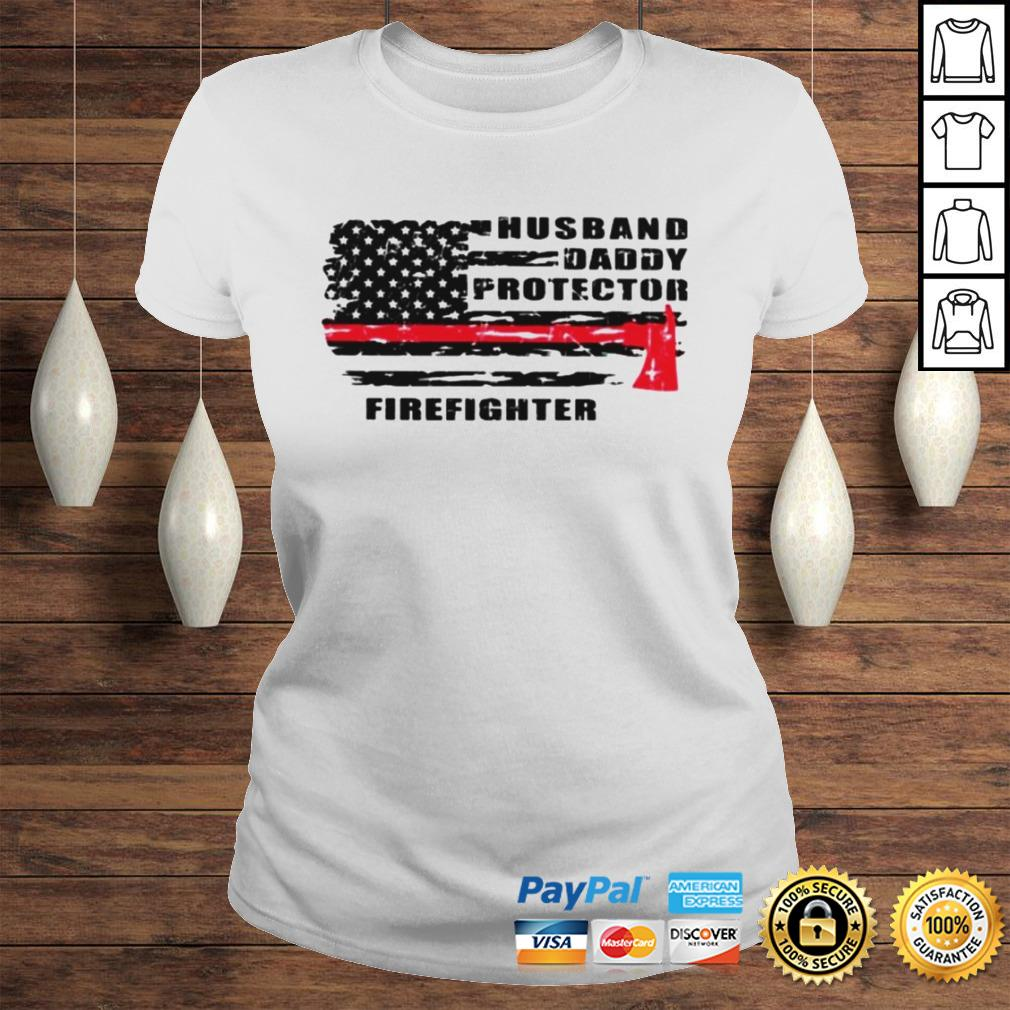 Husband daddy protector firefighter shirt Classic Ladies Tee