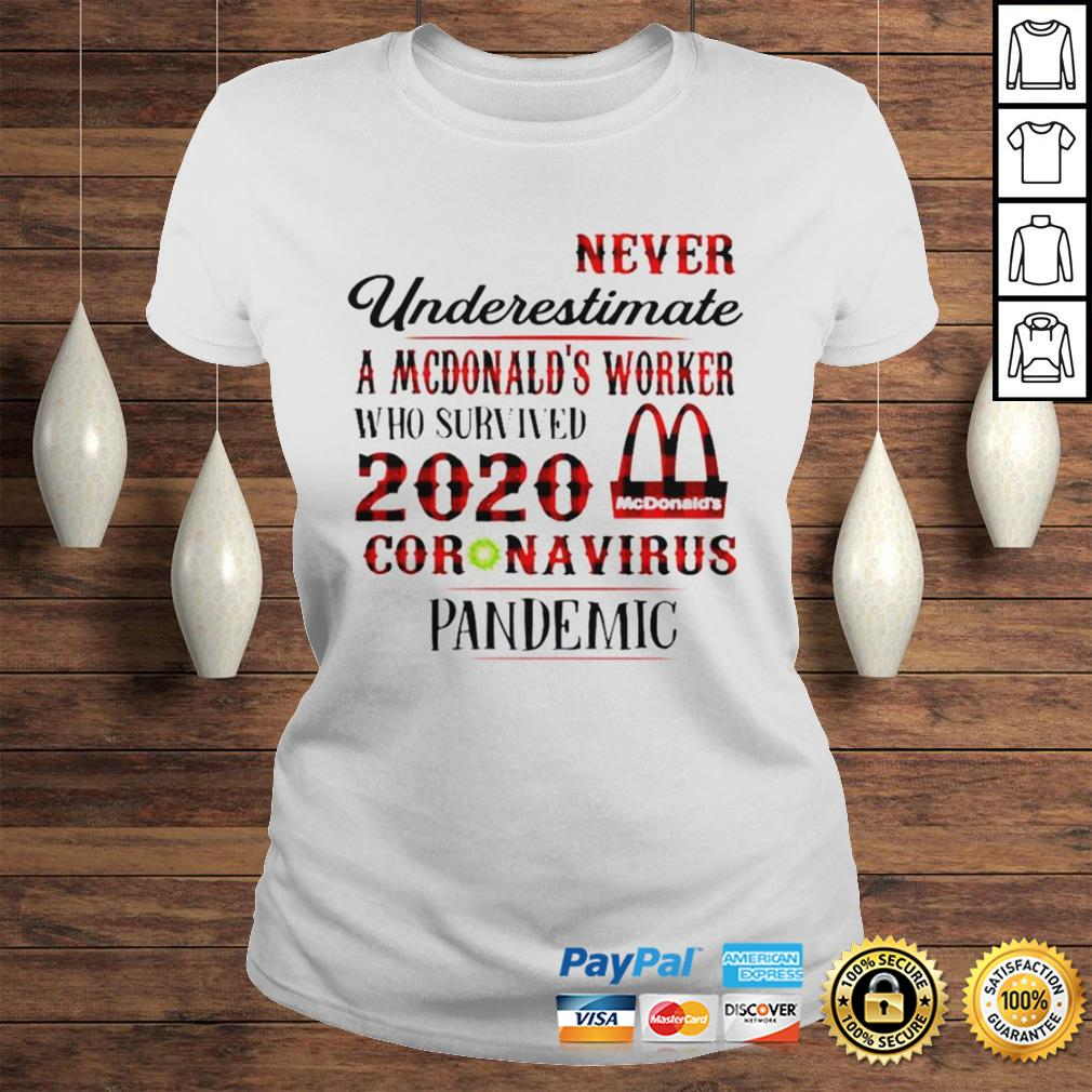 Never underestimate a dunkin worker who survived 2020 Mcdonalds coronavirus pandemic shirt Classic Ladies Tee