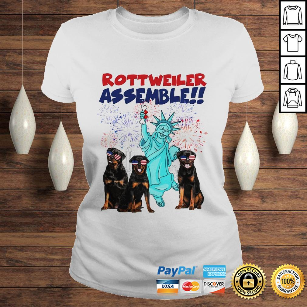 Rottweiler with the statue of liberty American flag veteran Independence Day shirt Classic Ladies Tee