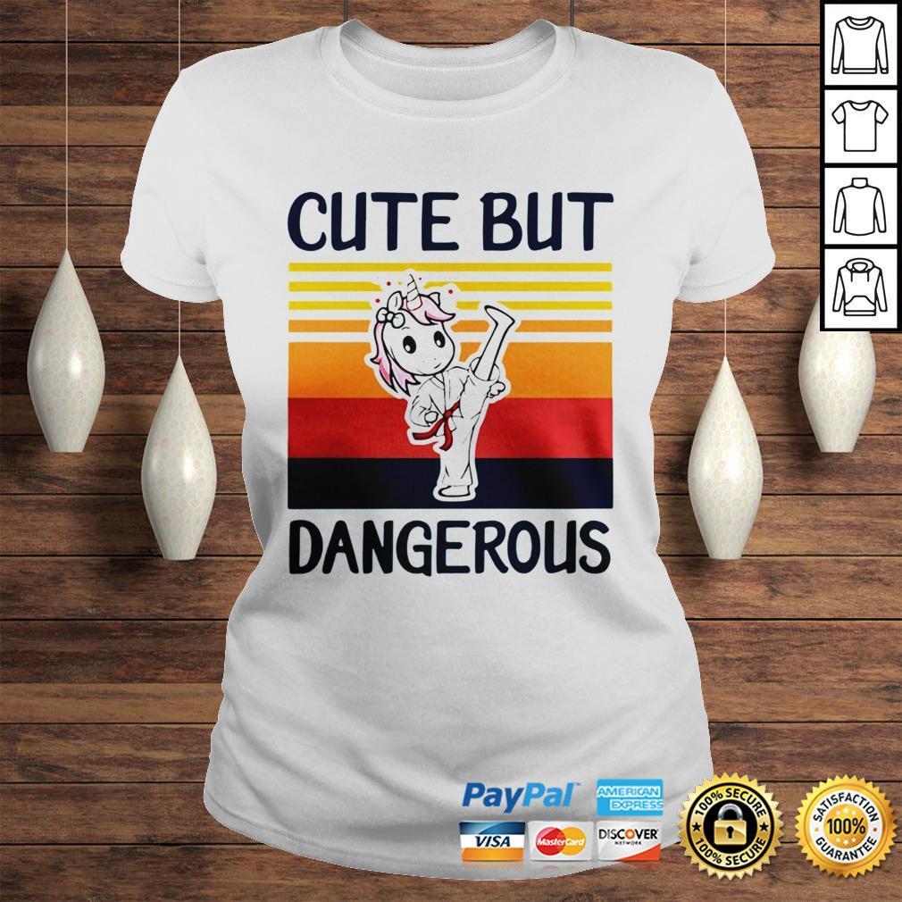 Unicorn Cute But Dangerous Vintage shirt Classic Ladies Tee