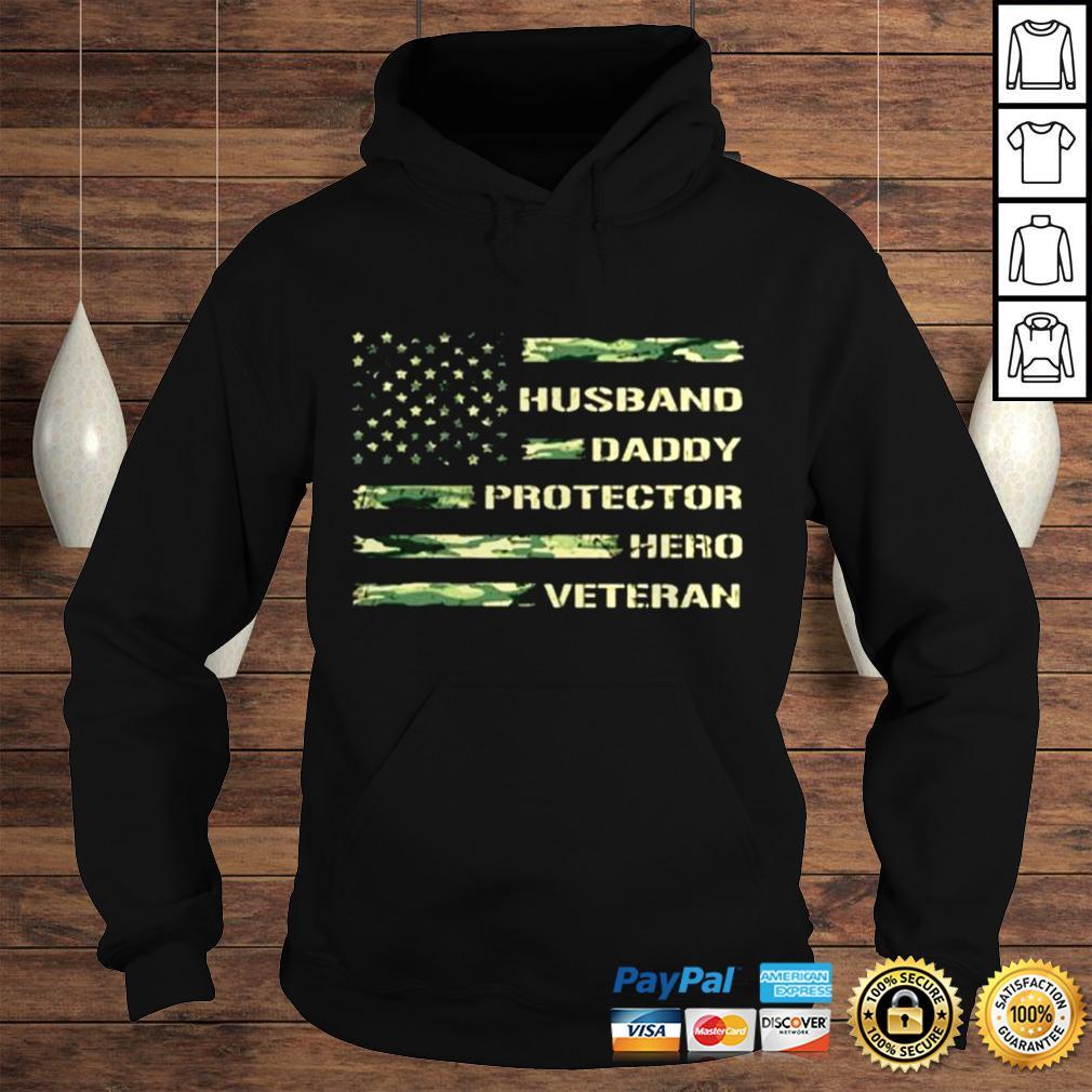Husband daddy protector hero Veteran America Flag shirt Hoodie