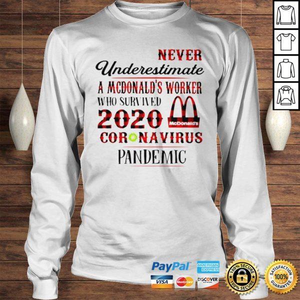 Never underestimate a dunkin worker who survived 2020 Mcdonalds coronavirus pandemic shirt Longsleeve Tee Unisex