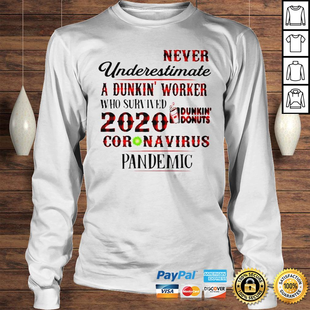 Never underestimate a dunkin worker who survived 2020 dunkin donuts coronavirus pandemic shirt Longsleeve Tee Unisex