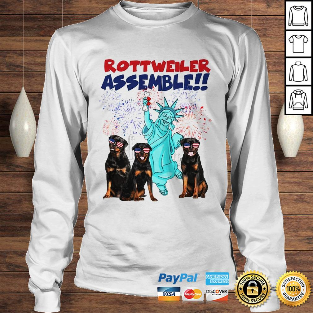 Rottweiler with the statue of liberty American flag veteran Independence Day shirt Longsleeve Tee Unisex