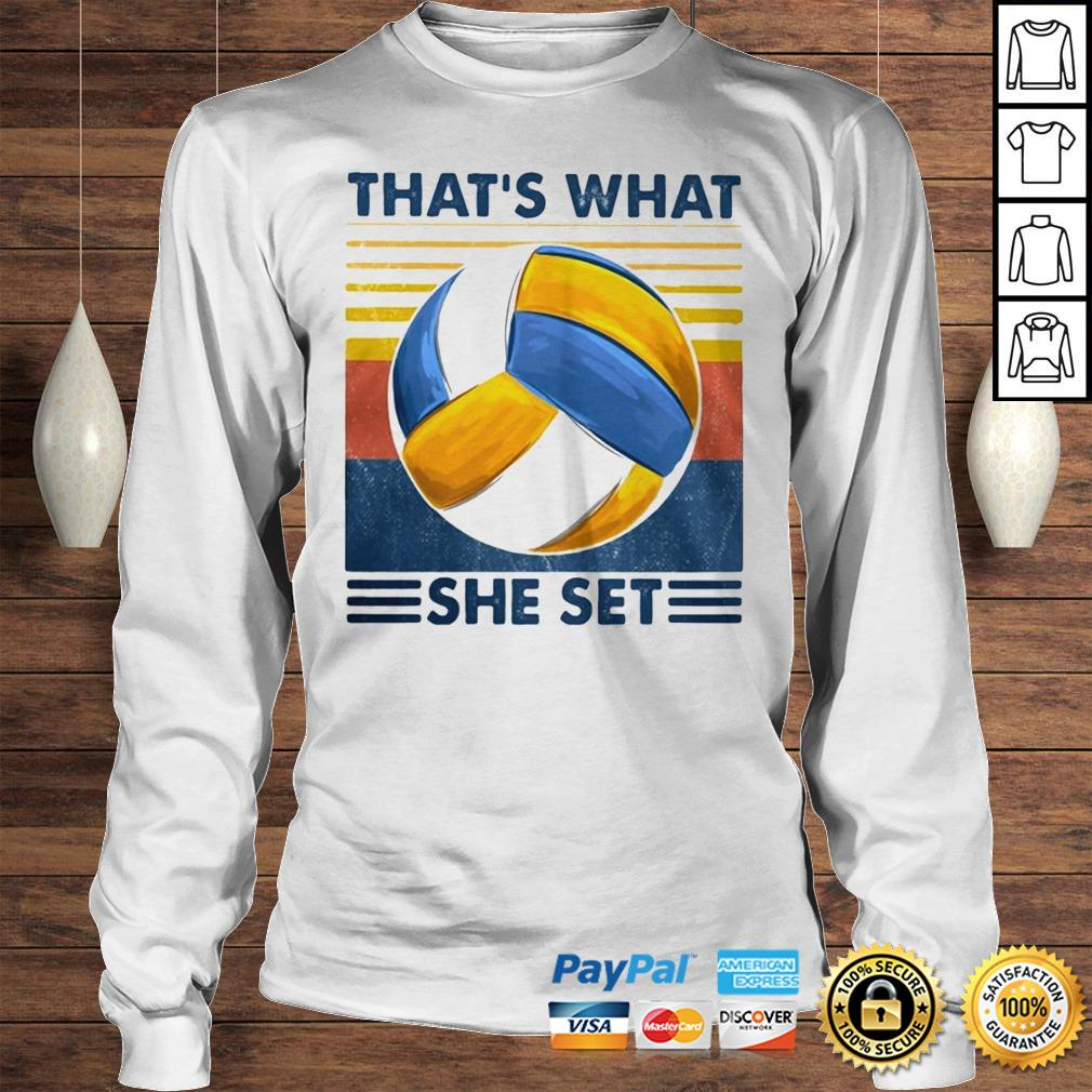 Thats What She Set Volleyball Vintage shirt Longsleeve Tee Unisex