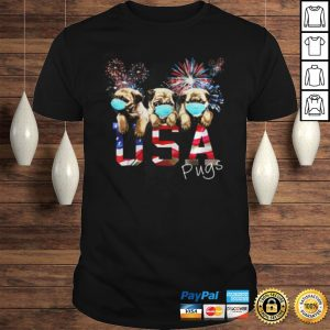Pugs Wear Mask Usa Flag Firework Independence Day TShirt Shirt