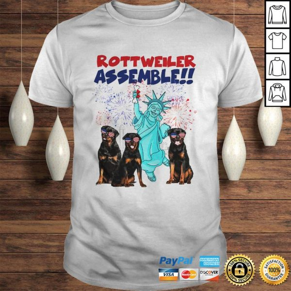 Rottweiler with the statue of liberty American flag veteran Independence Day shirt