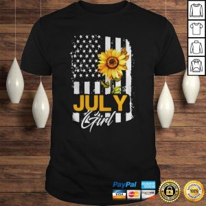 Sunflowers American Flag July Girl Hoodie Shirt