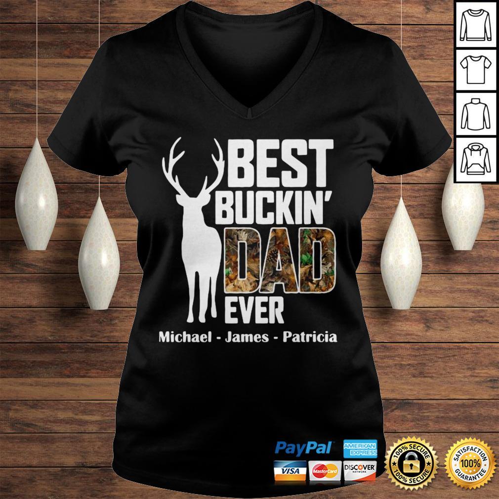 Best Buckin Dad Ever Shirt Ladies V-Neck