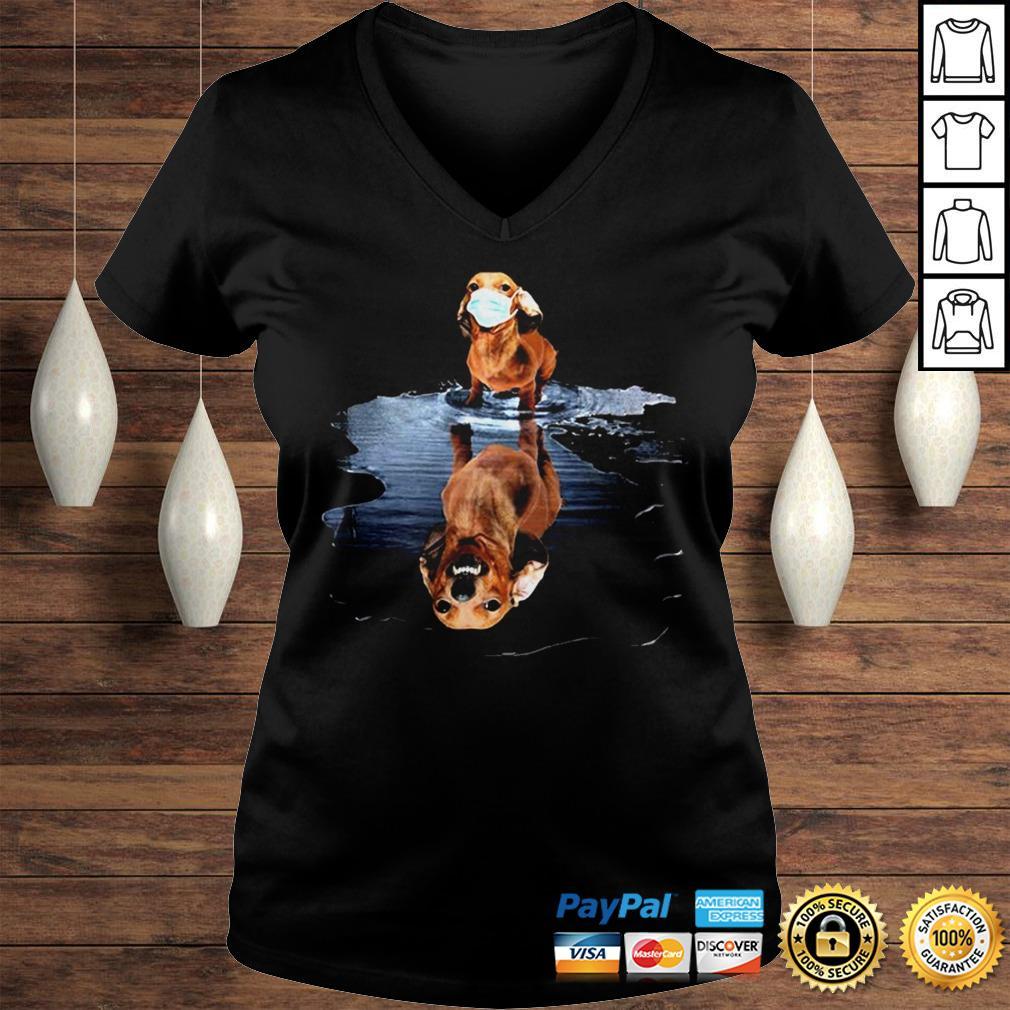 Dachshund Face Mask Water Reflection Dachshund Shirt Ladies V-Neck