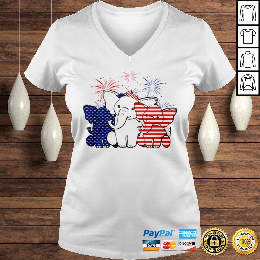 Elephant 4th of July Independence shirt Ladies V-Neck