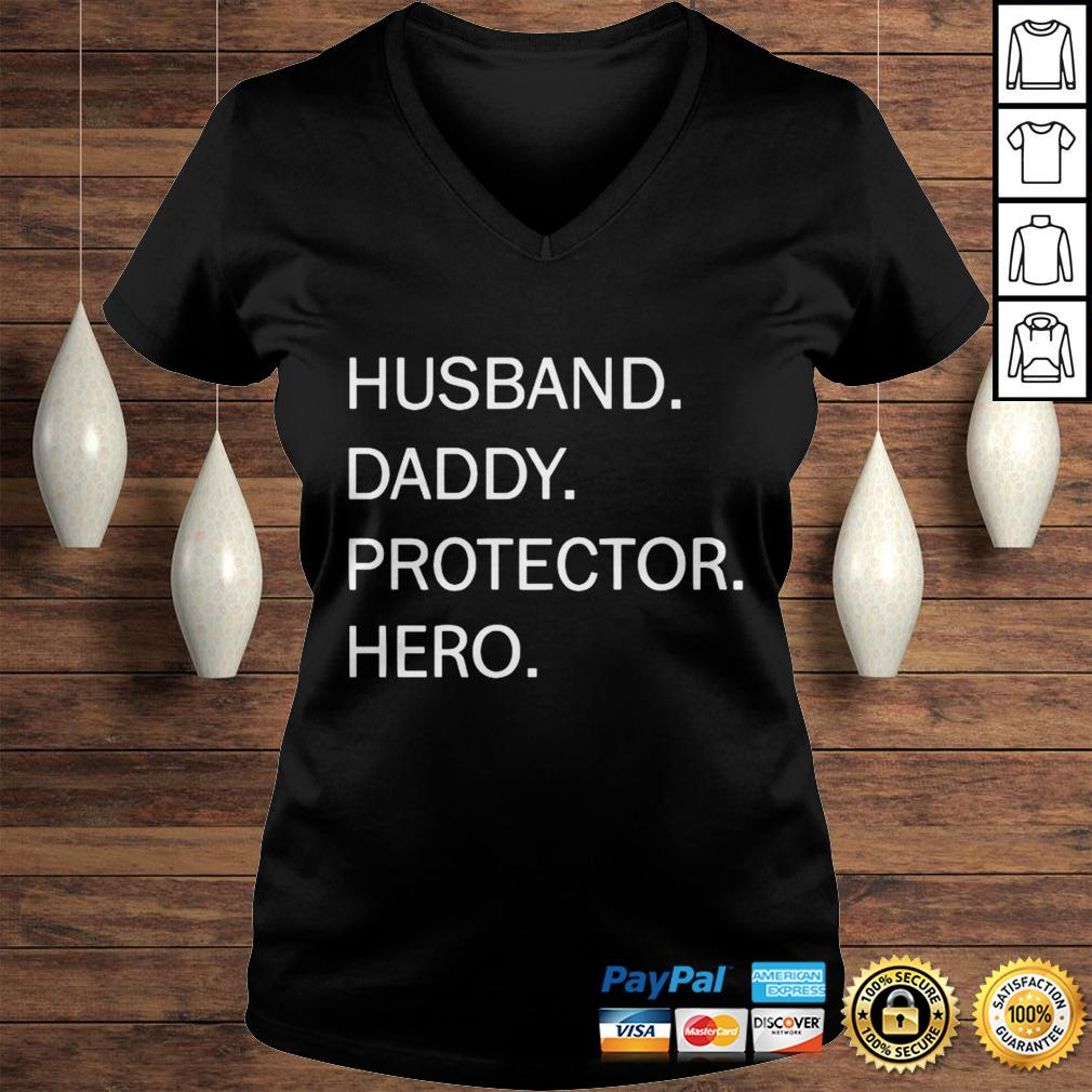 Husband Daddy Protector Hero Shirt Ladies V-Neck