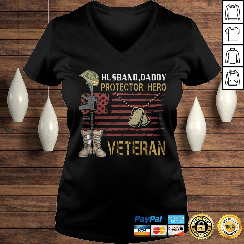 Husband Daddy Protector Hero Veteran TShirt Ladies V-Neck