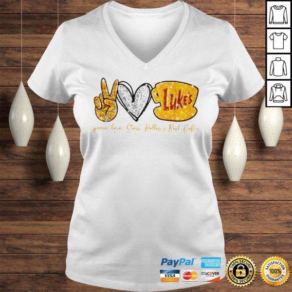 Peace Love Stars Hollows Best Coffee Lukes Shirt Ladies V-Neck