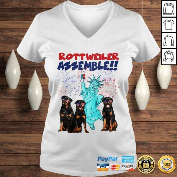 Rottweiler with the statue of liberty American flag veteran Independence Day shirt Ladies V-Neck
