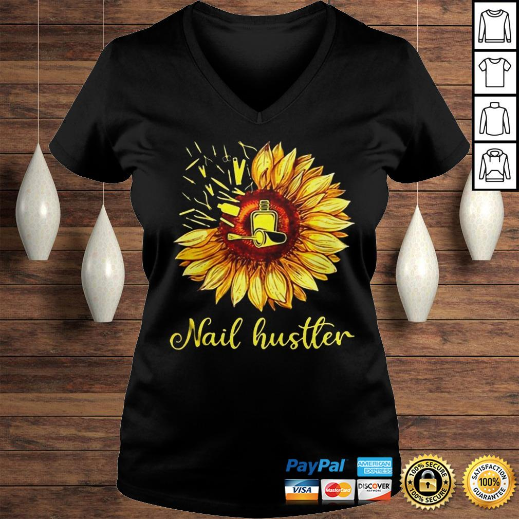 Sunflower Nail Hustler Shirt Ladies V-Neck
