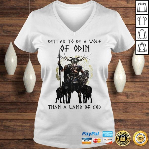 Vikings Better To Be A Wolf Of Odin Than A Lamb Of God Shirt Ladies V-Neck