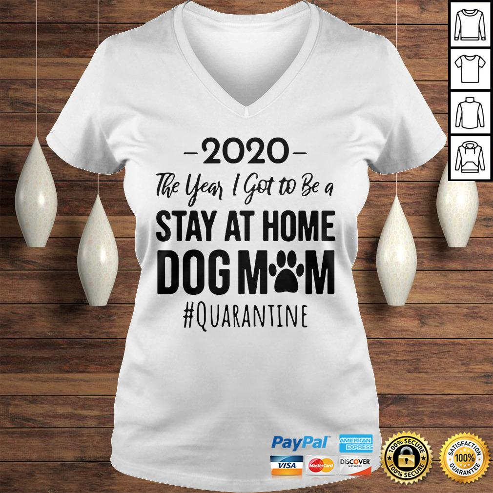 Vintage 2020 The Year I Got To Be A Stay At Home Dog Mom Quarantine Hoodie Ladies V-Neck