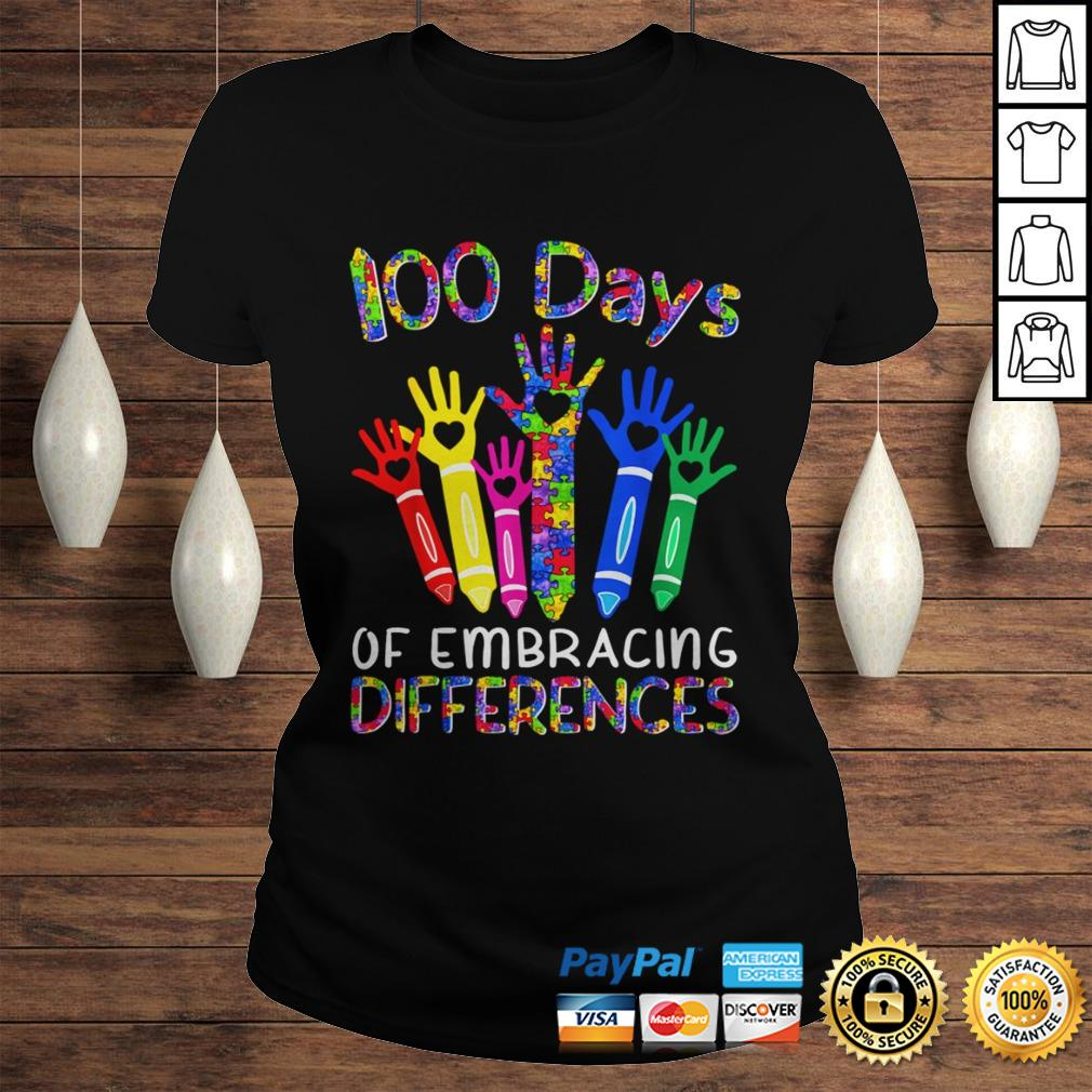100 Days Of Embracing Differences IEP 100th Day Of School TShirt Classic Ladies Tee