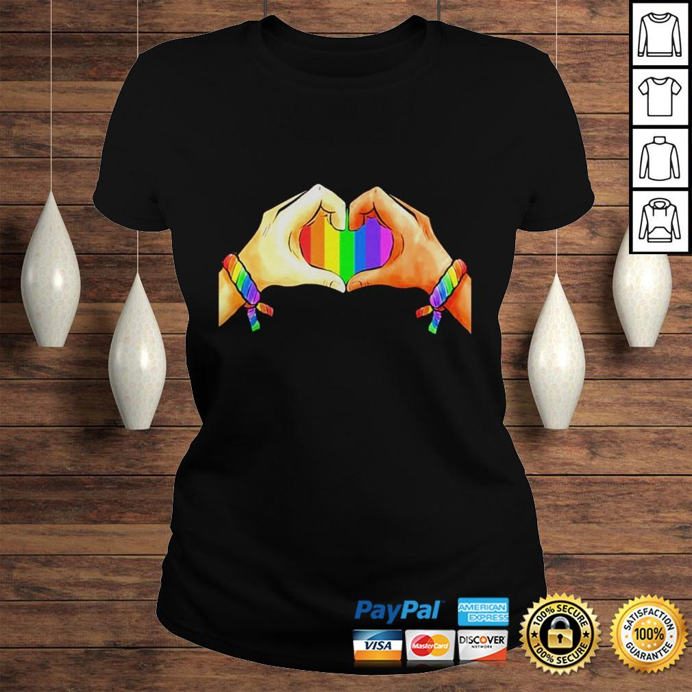 Hand language heart Rainbow shirt Classic Ladies Tee