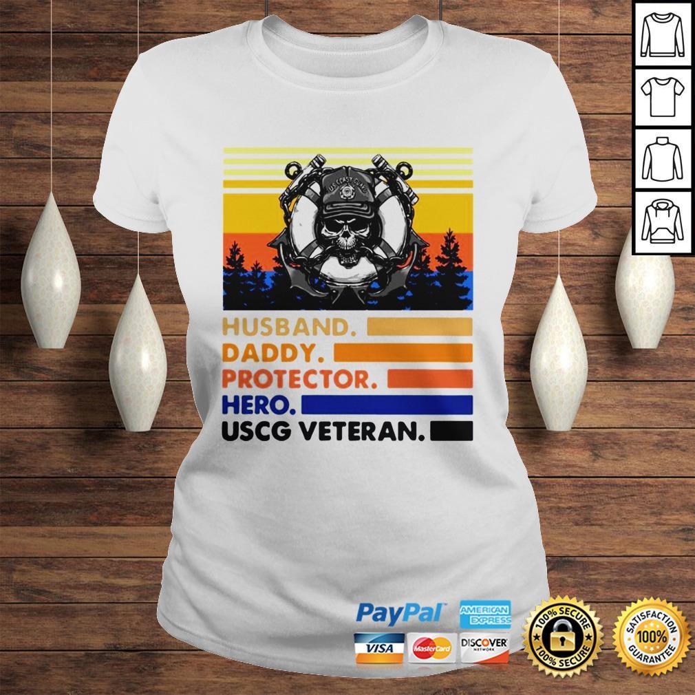 Husband Daddy Protector Hero USCG Veteran Vintage TShirt Classic Ladies Tee