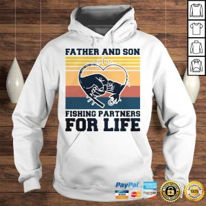 Father and son fishing partners for life hand heart vintage shirt Hoodie