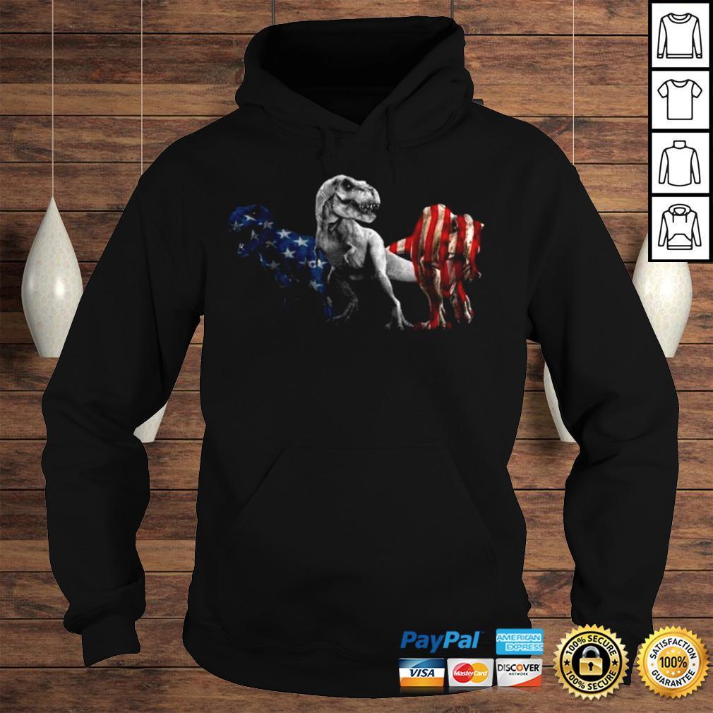 Trex Dinosaur American Flag 4th Of July Shirt Hoodie