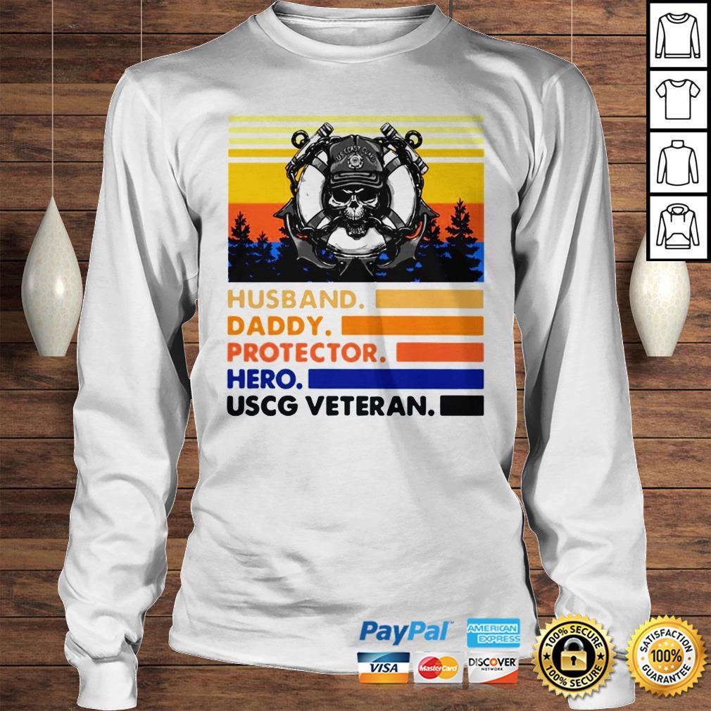 Husband Daddy Protector Hero USCG Veteran Vintage TShirt Longsleeve Tee Unisex