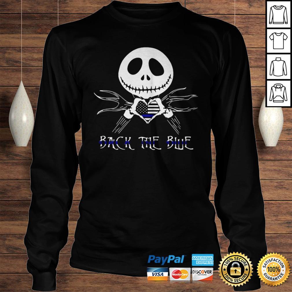 Jack Skellington Back The Blue American Flag Shirt Longsleeve Tee Unisex